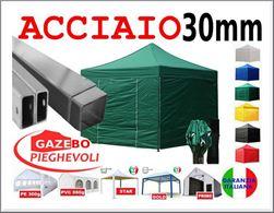Gazebo 3x3 pieghevole verde fiere mercati eventi tendone pvc