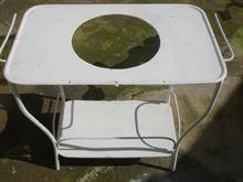 Porta catino toletta ferro d'epoca con catini conca e brocca
